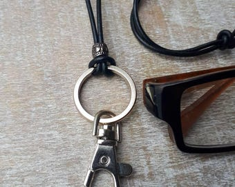 Versatile eyeglass lanyard, id lanyard, eyeglass holder, eyeglass chain, I'D Lanyard, Key holder, St. Steel lanyard, leather lanyard, gift