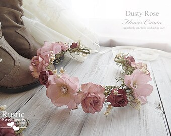 Dusty Rose Flower Crown ~ Bridal Flower Crown ~ Bride, Bridesmaid, Flowergirl ~ Available in Child and Adult Size.