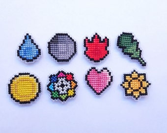 Kanto cross Stitch Pokemon inspired Gym Badge MAGNETS Pokemon  magnet set of 8