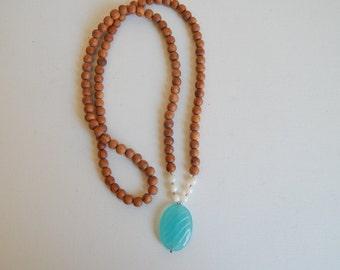Long beaded wood necklace with aqua blue agate pendant, yoga mala necklace, beach boho, boho hippie, layering necklace, summer fashion