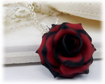 Tipped Rose Necklace - Silver Gold or Antique Brass, Tipped Rose Jewelry, Black and Red Rose Necklace, Variegated Rose Necklace