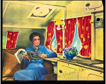 Vintage Trailer Print - 1930s Interior - VERY Relaxed Trailer Gal - Wildly Tinted!