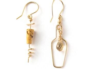 Wine Lovers Earrings. Gold Champagne Quartz White Wine Bottle and Cork Screw Earrings. Gold Wine Lovers Champagne Cork Earrings.