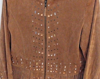 Vintage Rare Find Gorgeous RAFAELLO LEATHER Suede Embellished Jacket Med Full ZIp Women
