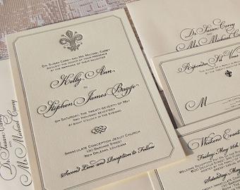 Letterpress Wedding Invitation DEPOSIT, Wedding Invitation, Classic Wedding Invitation, Fleur-de-Lis  Invitation, French Wedding Invitation