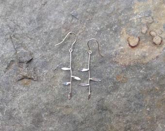 Twig Earrings - polished sterling silver