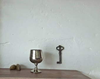 Vintage wine goblet, primitive silver metal wine goblet chalice, rustic metal cup, metal drinking stemware