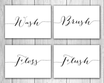 Bathroom Decor - 5x7 (Set of 4) Wash, Brush, Floss, Flush, Bathroom Wall Art, Bathroom Prints, Bathroom Rules, Printable Art