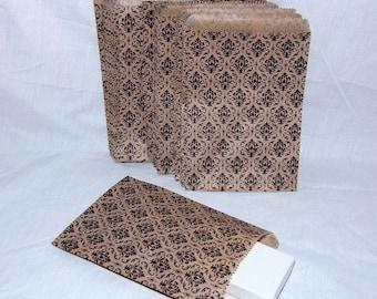 100 Gift Or Shopping Bags Damask Design