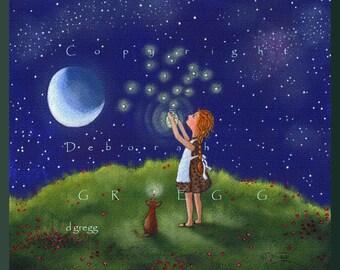 Freedom For Fireflies Larger Version A lightning Bug summer dog moon PRINT by Deborah Gregg