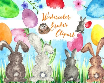 Easter bunny clip art watercolor , Easter bunny clipart, Easter clipart instant download.