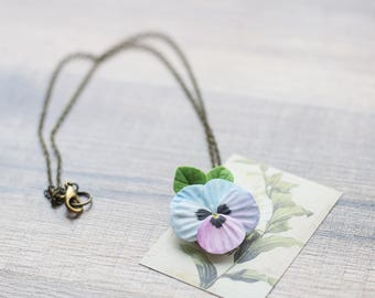 Pansy necklace - pansy jewelry - flower pendant - flower jewelry - unique jewelry - botanical necklace - pastel jewelry - pink blue flower