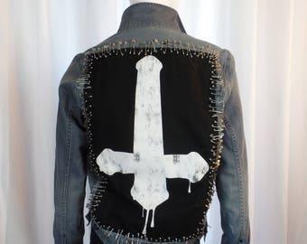 vintage 80s LORDS OF GASTOWN Motorcycle Church safety pin denim jacket/ reversed dripping cross/ distressed denim: mens medium/ womans large
