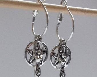 4 in 1 Cluster Pentagram Earrings , Pentacle Earrings , Pentagram Hoops , Silver Hoops , Wicca Earrings , Hoop Earrings , Witch , Goddess