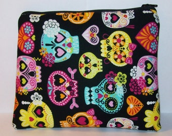 "Pipe Pouch, Pipe Case, XL Pipe Bag, Cute Sugar Skull Bag, Padded Pipe Pouch, Pipe Cozy, Padded Zipper Bag, Gadget Bag, 7.5"" x 6"" - X LARGE"