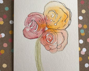 Watercolor Cards, Hand Painted Flower Cards, Homemade Cards