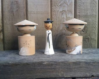 Vintage Kokeshi Doll Lot, Kokeshi, Japanese Dolls, Wooden Dolls, Bobble Head, Hand Painted.
