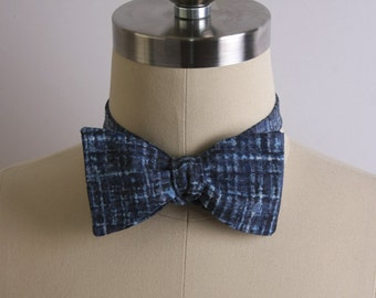 Free Style Bow Tie, Men's Accessories, Blue Checked Self Tie Bow Tie, Men's Bow Tie, Formal, Adjustable Bow Tie, Hipster, Men's Formal Wear