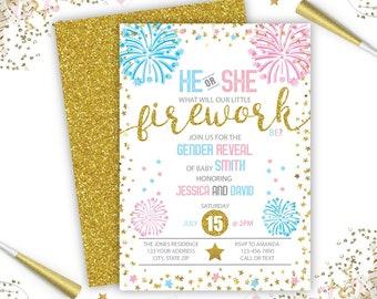 Firework Gender Reveal Invitation, Firework Invite, Firecracker Gender Reveal, Instant Download, Digital File, Printable