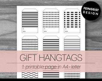 GIFT HANGTAGS. Printable Pages/Planner Inserts. 2 Sizes. Instant Download. Letter - A4