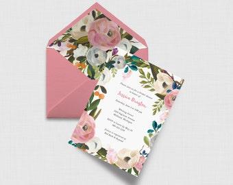 "Pink Watercolor Floral 5"" x 7"" Bridal Shower Invitation - Digital or Printed"