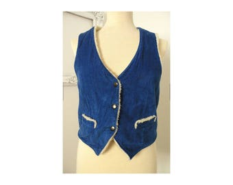 Cobalt Blue Corduroy Vest With Faux Shearling Lining 70s Women Sz Small