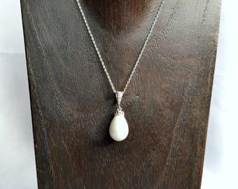 Bridal pearl necklace, teardrop pearl necklace, bridal pearl jewelry, bridesmaid pearl necklace