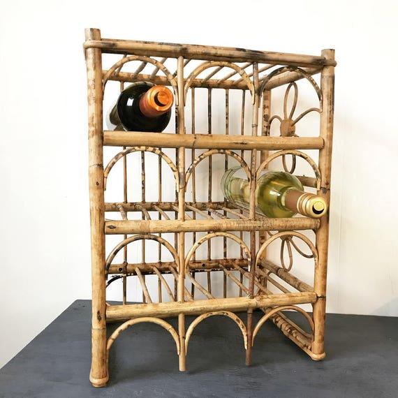vintage bamboo wine rack - bar bottle storage - kitchen dining - boho towel holder - magazine rack