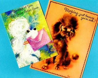Vintage Poodle Dog Get Well Greeting Cards Lot of 2 Unused Cards Well Wishes Retro 1960s