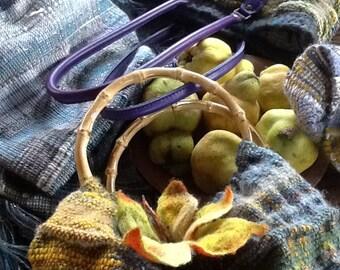 OOAK handwoven bag with bamboo handles