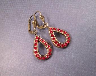 Art Deco Style Drop Earrings, Christmas Red Glass Stones, Brass Dangle Earrings, FREE Shipping U.S.
