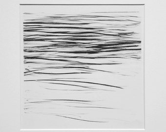 River Surface I - graphite drawing (in mount)