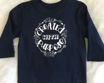 Created With Purpose Tee, Long Sleeve Christmas Shirt, Kids Infant, Toddler, Girls Boys Navy Blue and White Christian Top, Floral Wreath