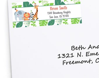 Jungle Party Animals - Return Address Labels - Personalized Safari Zoo Animals Party or Birthday Party Supplies - 30 Jungle Labels