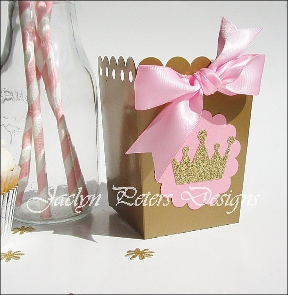Pink Amp Gold Princess Party Favors Popcorn Boxes Glitter