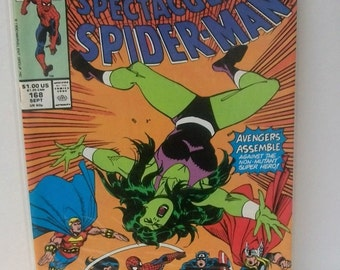 1990 The Spectacular Spider-Man #168 The Avengers Vs Spider-man VG-VF  Vintage Marvel Comic Book