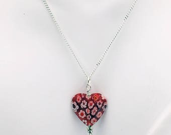 Millefiori Glass Heart Necklace. Millefiori gifts are always special. Makes the perfect gift for her (mom, girlfriend, best friend, sister).