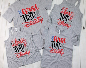 First Trip To Disney Shirts | Family Disney Shirts | Women's Tank Top | Disney T-shirts for Girls/Boys