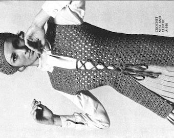 Long Crochet Vest, 1970s pattern, pdf pattern, vintage pattern,crochet top,women crochet,crochet vest pattern,1970s clothes,instant download