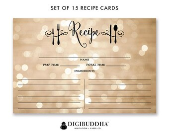 Recipe Cards Gift Set of 15 Recipe Cards Pack of 15 Recipe Cards Gift Set Champagne Bokeh Black Utensils Kitchen Modern Recipe Cards - Mila