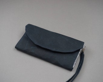 Blue Coated Wristlet Purse - Leather Look Navy Blue Wallet for Ladies - 2018 New Collection Purse - Wax Coated Purse