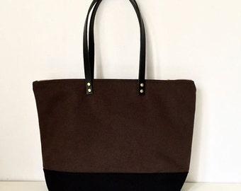 "MEDIUM ZIPPER TOTE | Waxed Canvas Leather | Diaper Bag | 13"" MacBook Air | 4 Pockets | Water Resistant | Dark Brown and Black Bottom"