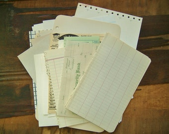 50 pc Vintage BLANK PAPER EPHEMERA • Junk Journal Scrapbook Supplies • tablet pages, index cards, game sheets, library pockets, lables, etc.