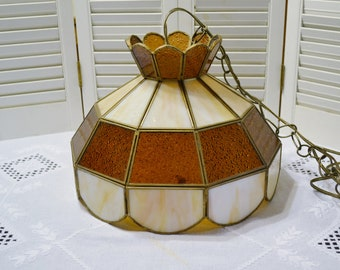 Vintage Stained Glass Light Fixture Swag Chain with Plug Slag Glass Beige Brown Retro Lighting Panchosporch