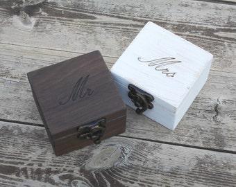 Set of 2 rustic ring bearer box wedding ring box wedding ring holder wedding ring holder wood ring box ring boxes ring bearer
