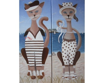 Cats all rights, oil painting, portrait of a couple on vacation, naive art