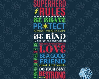 SVG & DXF design - Superhero Rules Be Brave Protect Wear a Cape Be Kind Love Power cut file for die cut machines (Cricut \ Silhouette)