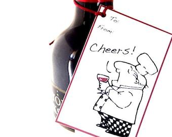 Whimsical Gift Tags Set of Nine, Chef Illustration, Homewarming Wine Tags