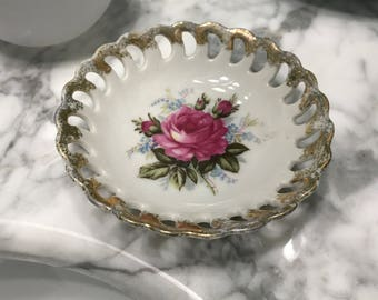 Antique Ring Dish Chinese Porcelain Made in Japan with Gold Trim with Pink Rose, Item #548240040