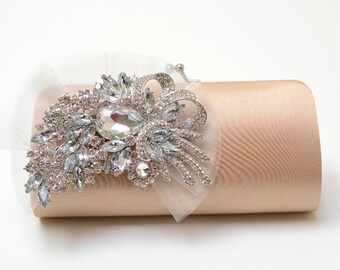SALE ~ READY To SHIP ~ Rhinestone Bridal Clutch in Dark Champagne - Bridesmaid Clutch - Formal Clutch - Rhinestone Clutch - Ivory Organza